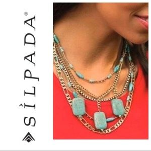 Silpada KR Brass and turquoise statement Necklace